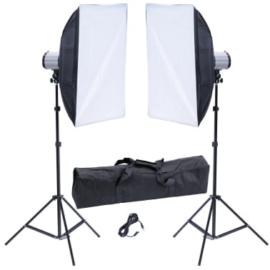 Studio Set: 2 Flash Lights 120 W/s with 2 Tripods & 2 Softboxes[1/10]