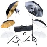 Studio Set: 2 Flash Lights 120 W/s with 2 Tripods & 6 Umbrellas