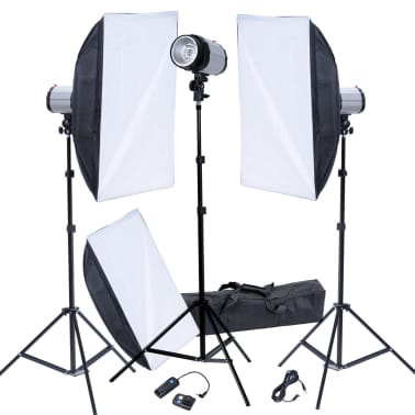 Studio Set: 3 Flash Lights, 3 Softboxes, 3 Tripods & 1 Flash Trigger[1/9]
