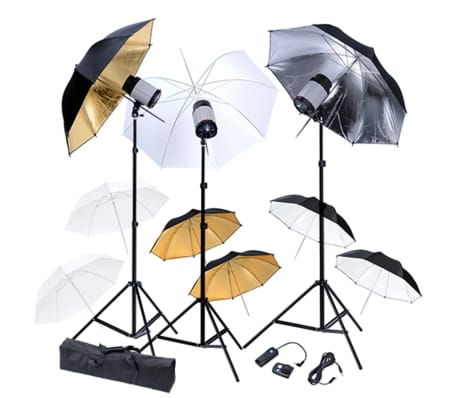 Studio Set: 3 Flash Lights, 9 Umbrellas, 3 Tripods & 1 Flash Trigger