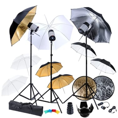 Studio Set: 3 Flash Lights, 9 Umbrellas, 3 Tripods, etc.[1/18]