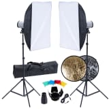 Studio Set: 2 Flash Lights, 2 Softboxes, 2 Tripods, etc.