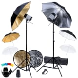 Studio Set: 2 Flash Lights, 6 Umbrellas, 2 Tripods, etc.