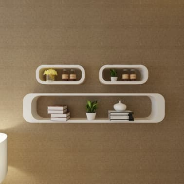 3 White MDF Floating Wall Display Shelf Cubes Book/DVD Storage[3/7]