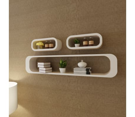 3 White MDF Floating Wall Display Shelf Cubes Book/DVD Storage[1/7]
