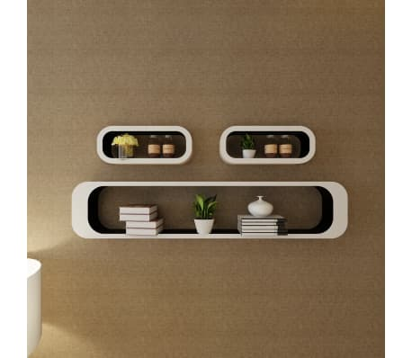 3 White-Black MDF Floating Wall Display Shelf Cubes Book/DVD Storage[3/7]