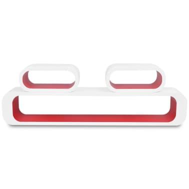 3er Set MDF Hängeregal Cube Regal Wandregal für Bücher/DVD, weiß-rot[4/6]