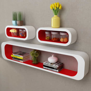 3 White-Red MDF Floating Wall Display Shelf Cubes Book/DVD Storage[1/6]