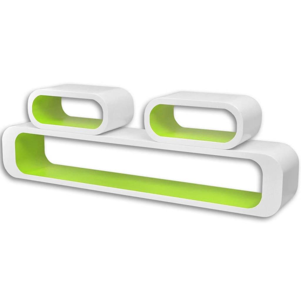 vidaXL Wandplanken kubus MDF zwevend voor boeken/dvd 3 st wit-groen