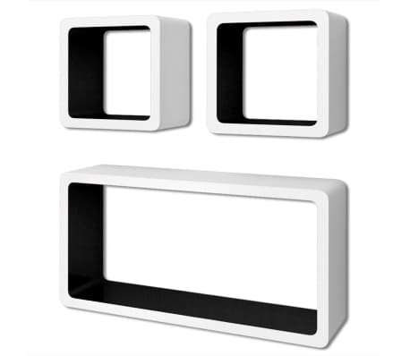 3 White-Black MDF Floating Wall Display Shelf Cubes Book/DVD Storage[2/7]