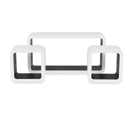 3 White-Black MDF Floating Wall Display Shelf Cubes Book/DVD Storage[5/7]