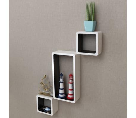 3 White-Black MDF Floating Wall Display Shelf Cubes Book/DVD Storage[6/7]