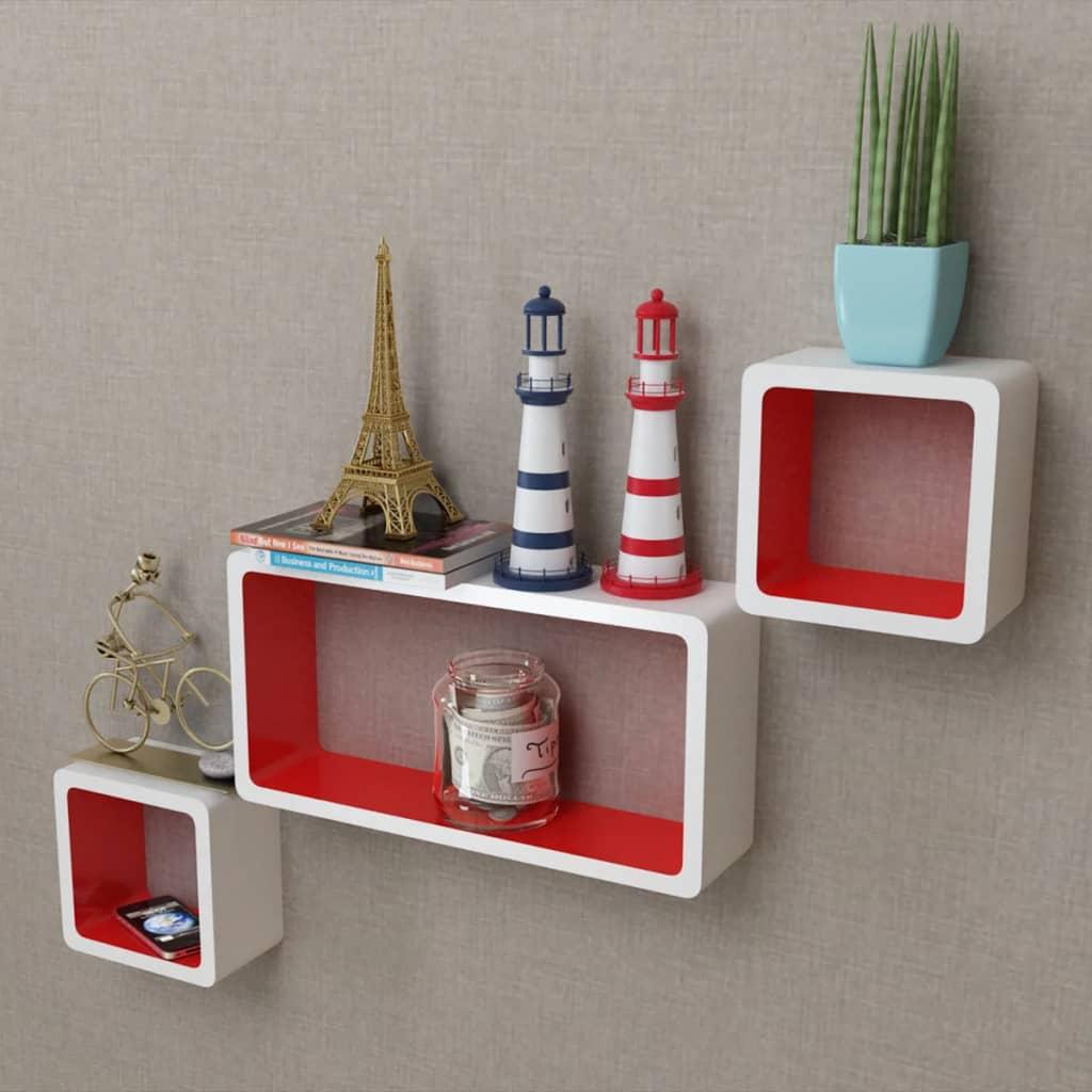 3 Rafturi de tip cub din MDF pentru cărți/DVD-uri, alb-roșu poza vidaxl.ro