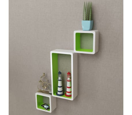 3 White-Green MDF Floating Wall Display Shelf Cubes Book/DVD Storage[3/7]