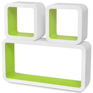3 White-Green MDF Floating Wall Display Shelf Cubes Book/DVD Storage[4/7]