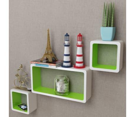 3 White-Green MDF Floating Wall Display Shelf Cubes Book/DVD Storage[1/7]