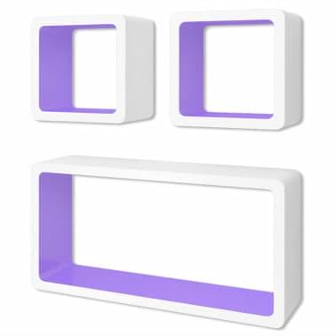 3 White-Purple MDF Floating Wall Display Shelf Cubes Book/DVD Storage[2/7]