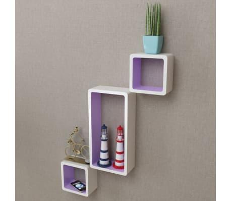 3 White-Purple MDF Floating Wall Display Shelf Cubes Book/DVD Storage[6/7]