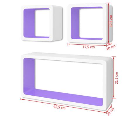 3 White-Purple MDF Floating Wall Display Shelf Cubes Book/DVD Storage[7/7]