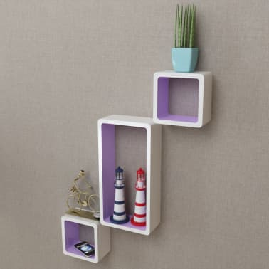 3 White-Purple MDF Floating Wall Display Shelf Cubes Book/DVD Storage[3/7]