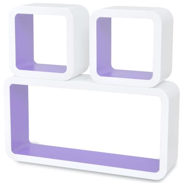 3 White-Purple MDF Floating Wall Display Shelf Cubes Book/DVD Storage[4/7]
