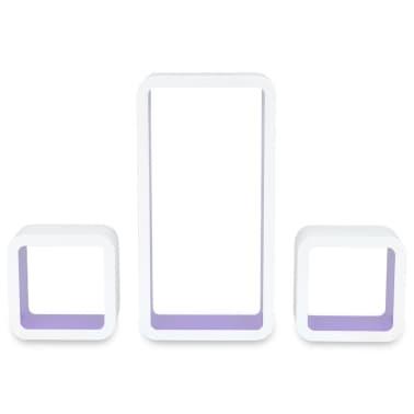 3 White-Purple MDF Floating Wall Display Shelf Cubes Book/DVD Storage[5/7]