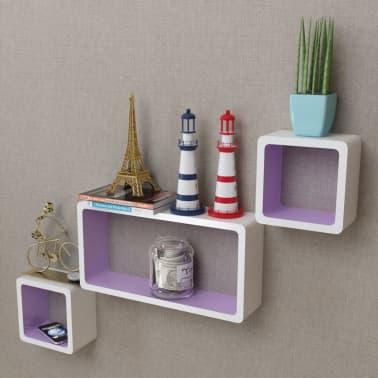 3 White-Purple MDF Floating Wall Display Shelf Cubes Book/DVD Storage[1/7]