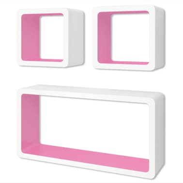 3 White-Pink MDF Floating Wall Display Shelf Cubes Book/DVD Storage[1/6]