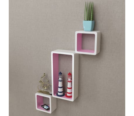 3 White-Pink MDF Floating Wall Display Shelf Cubes Book/DVD Storage[2/6]