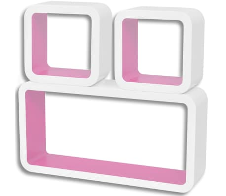 3 White-Pink MDF Floating Wall Display Shelf Cubes Book/DVD Storage[3/6]