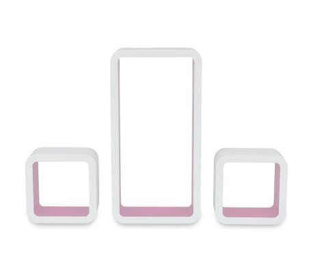3 White-Pink MDF Floating Wall Display Shelf Cubes Book/DVD Storage[5/6]