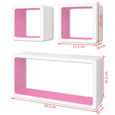 3 White-Pink MDF Floating Wall Display Shelf Cubes Book/DVD Storage[6/6]