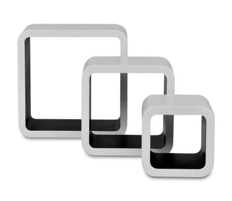 3 White-Black MDF Floating Wall Display Shelf Cubes Book/DVD Storage[3/7]