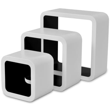 3 White-Black MDF Floating Wall Display Shelf Cubes Book/DVD Storage[4/7]