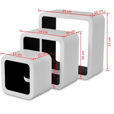 3 White-Black MDF Floating Wall Display Shelf Cubes Book/DVD Storage[7/7]