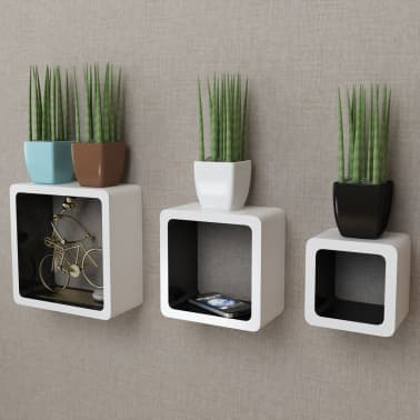 3 White-Black MDF Floating Wall Display Shelf Cubes Book/DVD Storage[1/7]