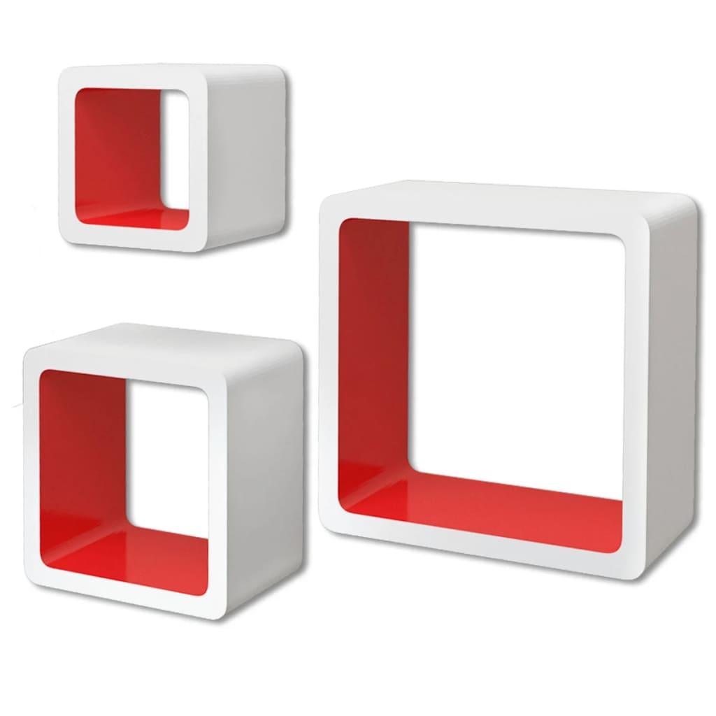 vidaXL Ράφια Τοίχου Κύβοι για Βιβλία/DVD 3 τεμ. Λευκό-Κόκκινο από MDF