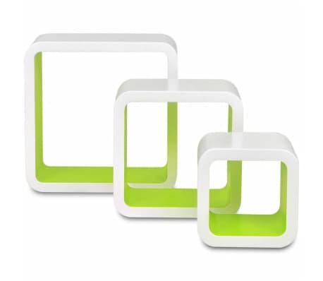 3 White-Green MDF Floating Wall Display Shelf Cubes Book/DVD Storage[5/7]