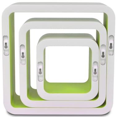 3 White-Green MDF Floating Wall Display Shelf Cubes Book/DVD Storage[6/7]