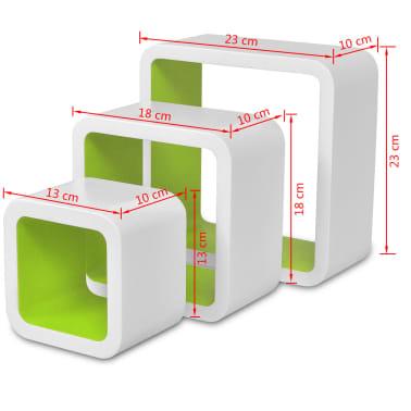 3 White-Green MDF Floating Wall Display Shelf Cubes Book/DVD Storage[7/7]