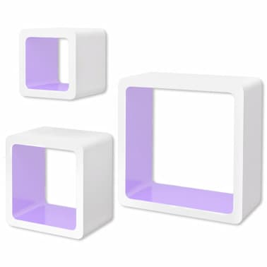 3 White-Purple MDF Floating Wall Display Shelf Cubes Book/DVD Storage[2/7]