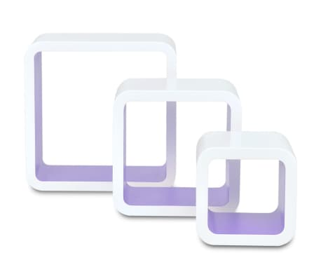 3 White-Purple MDF Floating Wall Display Shelf Cubes Book/DVD Storage[3/7]