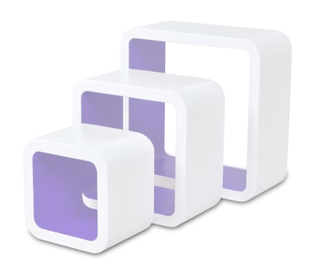 3 White-Purple MDF Floating Wall Display Shelf Cubes Book/DVD Storage[4/7]