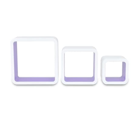3 White-Purple MDF Floating Wall Display Shelf Cubes Book/DVD Storage[6/7]