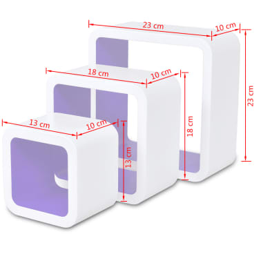 3 White-Purple MDF Floating Wall Display Shelf Cubes Book/DVD Storage[7/7]