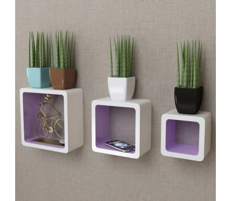 3 White-Purple MDF Floating Wall Display Shelf Cubes Book/DVD Storage[1/7]