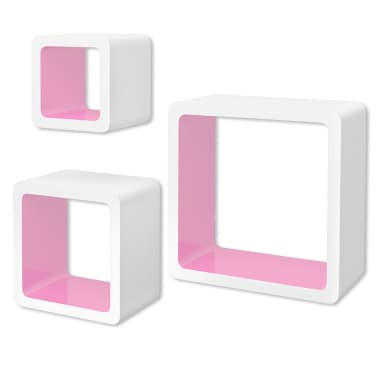 3 White-Pink MDF Floating Wall Display Shelf Cubes Book/DVD Storage[2/7]