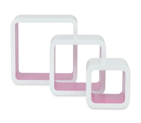 3 White-Pink MDF Floating Wall Display Shelf Cubes Book/DVD Storage[3/7]