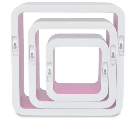 3 White-Pink MDF Floating Wall Display Shelf Cubes Book/DVD Storage[5/7]