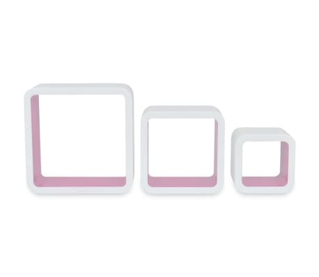 3 White-Pink MDF Floating Wall Display Shelf Cubes Book/DVD Storage[6/7]